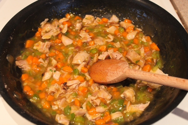 Chicken pot pie filling before going into the bowls