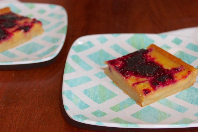 Honey Lemon Bars with Blueberry Jam Swirl