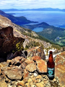 A well-earned brew at the top of Mt. Tallac.