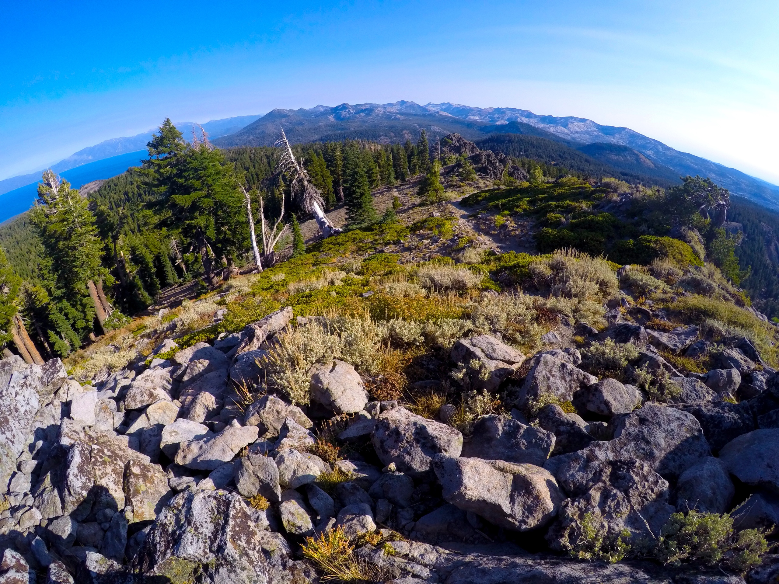 View from Ellis Peak looking South at Lake Tahoe. Desolation Wilderness and Pyramid Peak are to the middle right.