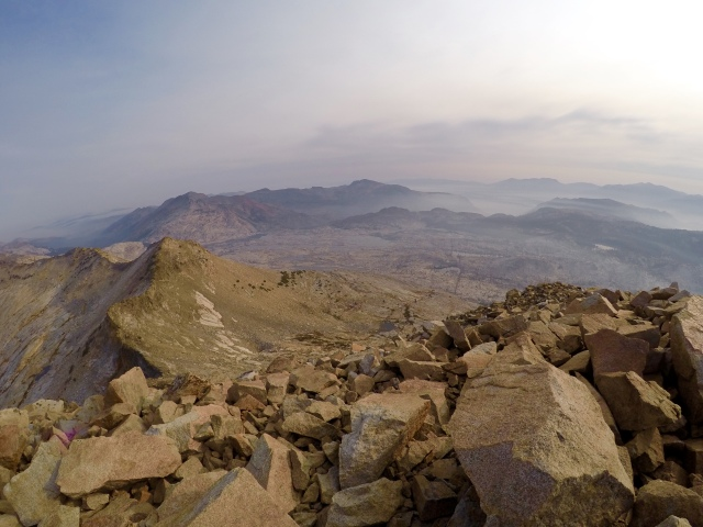 Enjoying the view from the top of Pyramid Peak. Smokey, but still amazing.