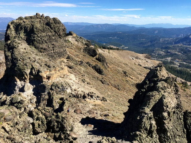 The turrets that make up Castle Peak, looking toward Lake Tahoe.