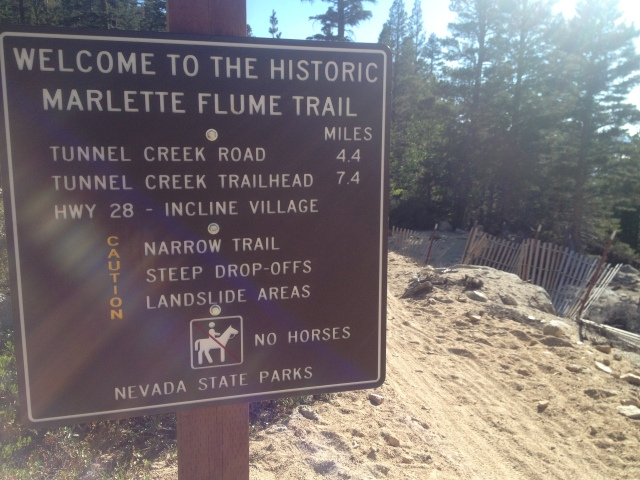 Marlette Flume Trailhead. They are serious when they say to be careful.