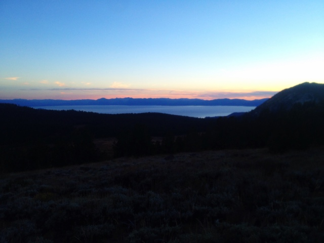 Beautiful sunset over Lake Tahoe and almost back to the car.