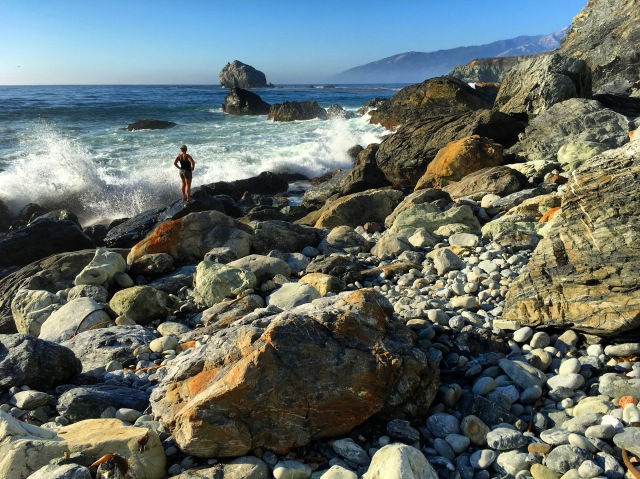 Jenn hunting for jade at Jade Cove, Big Sur.