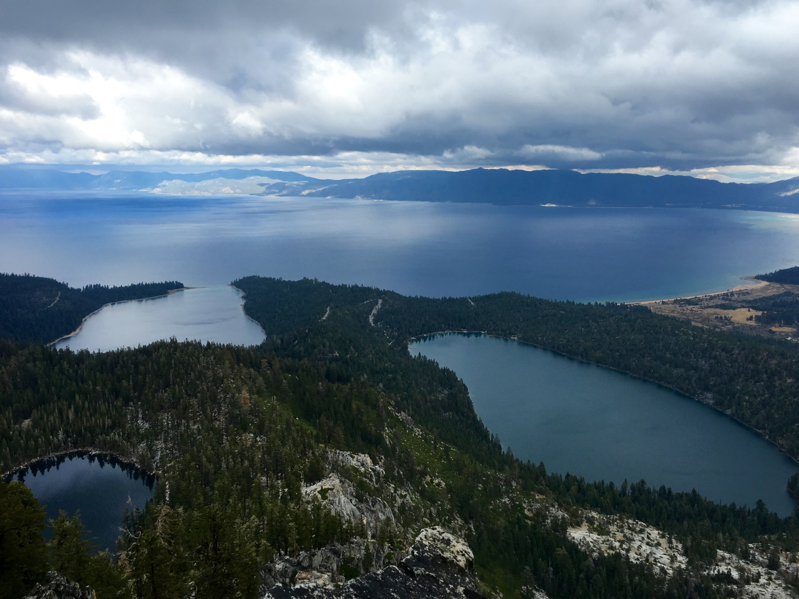 View from Maggie's South Peak. Looking down at Cascade Lake, Granite Lake, Emerald Bay, and the rest of Lake Tahoe.
