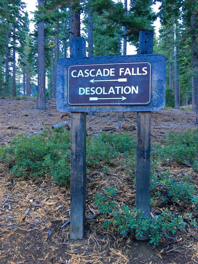Sign at the trailhead. Go to the right towards Desolation Wilderness.