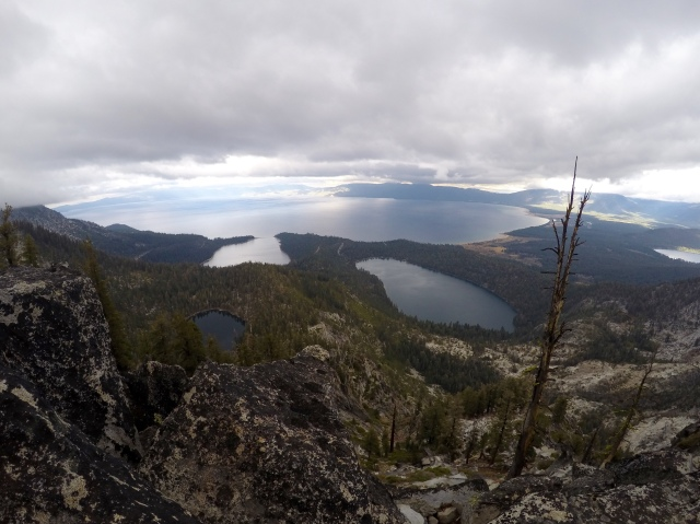 View from Maggie's Peak, looking at South Lake Tahoe, Cascade Lake, Granite Lake, and Emerald Bay