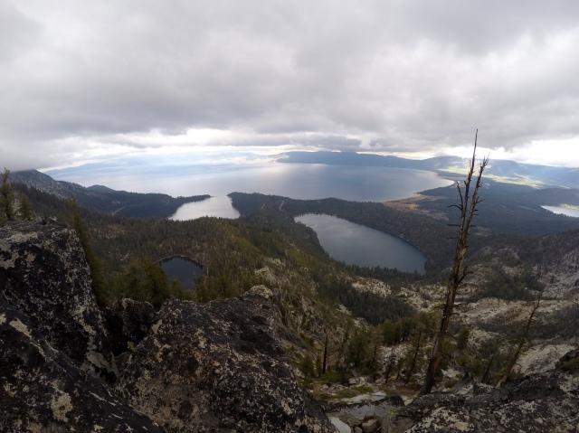 View from Maggie's Peak, looking at South Lake Tahoe, Cascade Lake, Granite Lake, and Emerald Bay