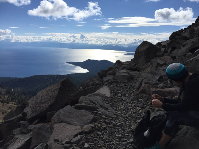 Having a rough moment on the Tahoe Rim Trail, just below Rose Knob.